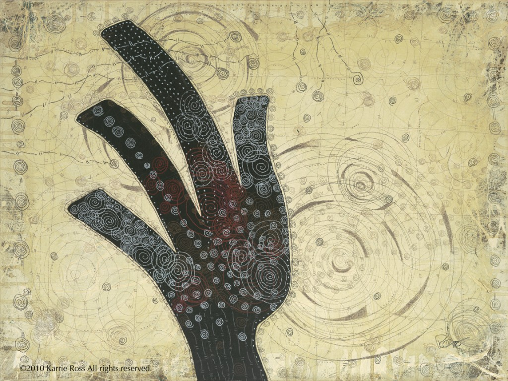 Spiral Series: Hands Disperse; 24 x 18; mixed media; 2010