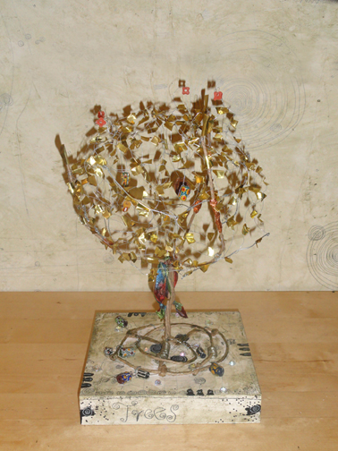My Trees Talking Sculpture; wire weave and decorated;  on 8x8