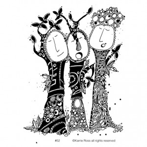 """My Trees Talking #52; 11"""" x 7"""" pen and ink drawing"""