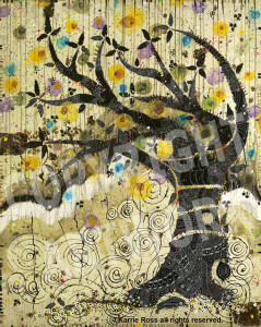 SOLD!  =  The Tree; 60h x 48w; oil, acrylic, pencil, gold leaf on canvas