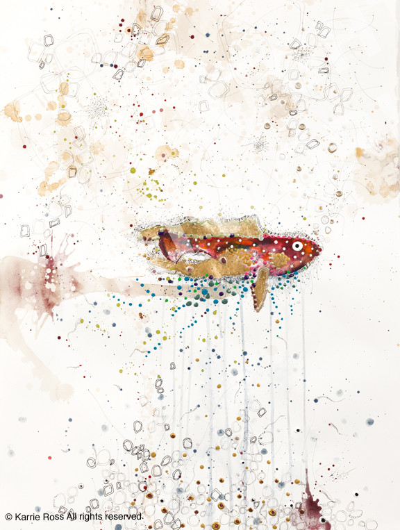 """""""Bejeweled Fish""""; 30""""x22""""; watercolor, pen&ink, oil, acrylic on arches"""