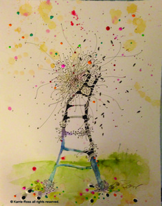 The Ladder; 14x11; watercolor, oil, acrylic,  ink on arches