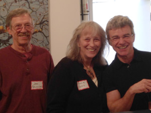 Topanga Canyon Gallery 2014 Juried Show. Juror Jim Morphesis. (l to r) John Brunick, Karrie Ross, Jim Morphesis